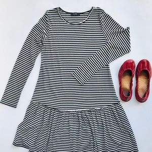 Aime Black and White Striped Dress